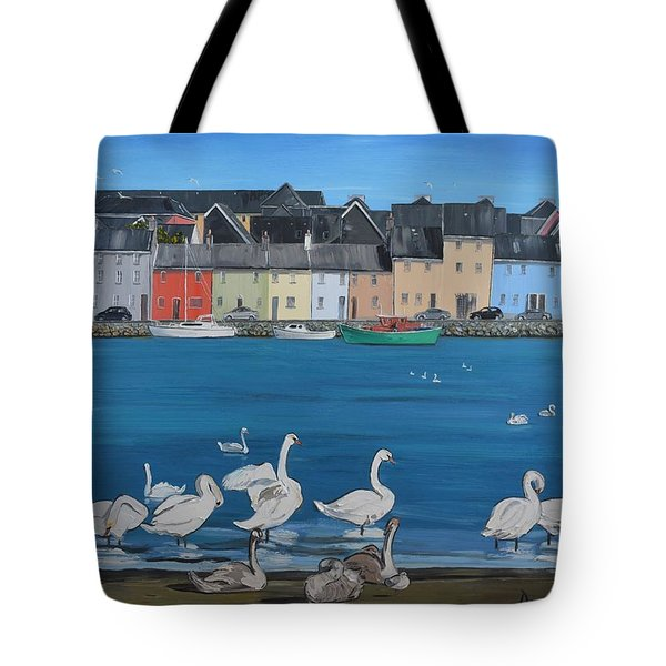 Galway Swans Claddagh Quay Galway Ireland Tote Bag