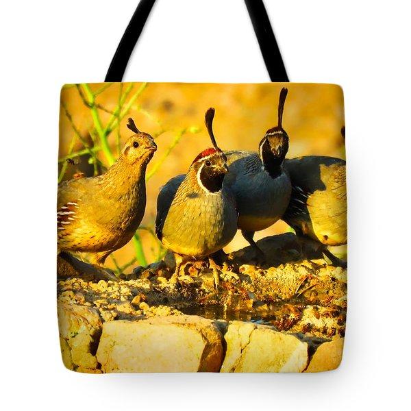Gambel's Quail Foursome Tote Bag