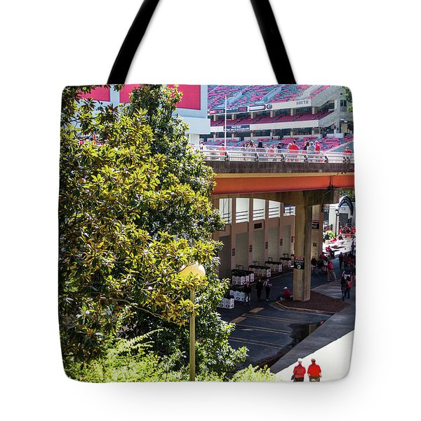 Tote Bag featuring the photograph Game Day In Athens by Parker Cunningham