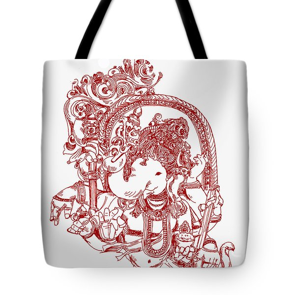 Ganesha Line Drawing Tote Bag
