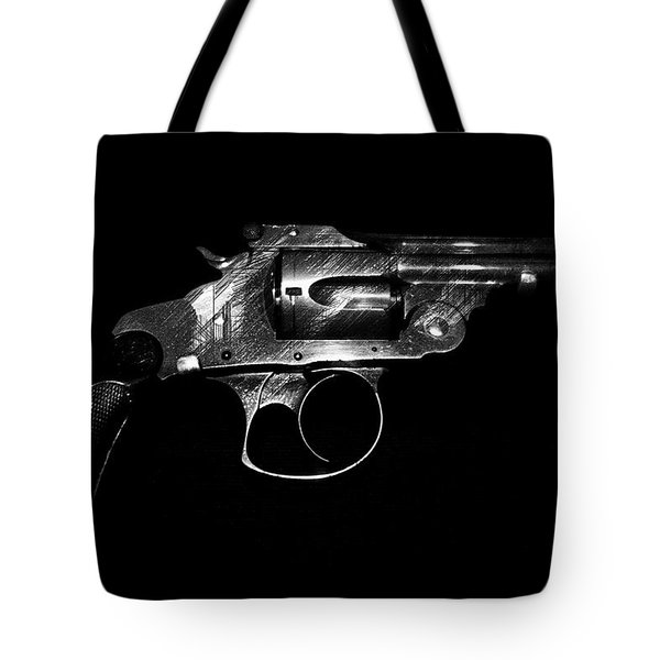 Tote Bag featuring the mixed media Gangster Gun by Daniel Hagerman