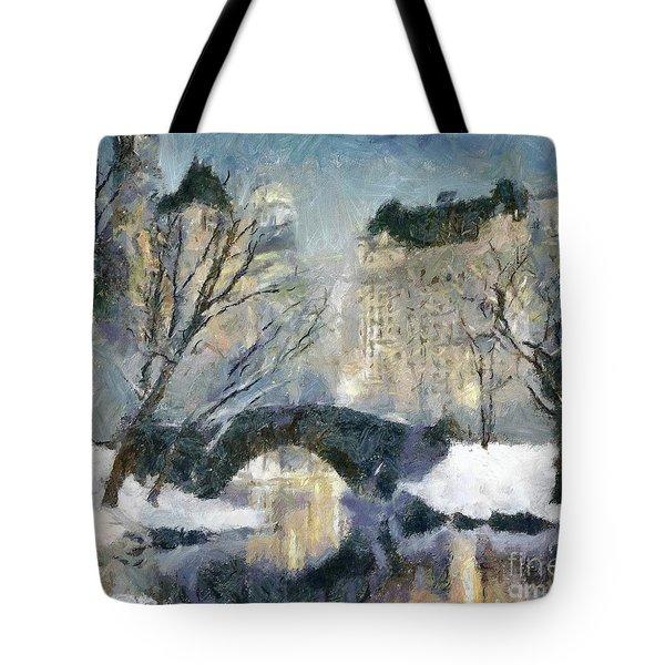 Gapstow Bridge In Snow Tote Bag