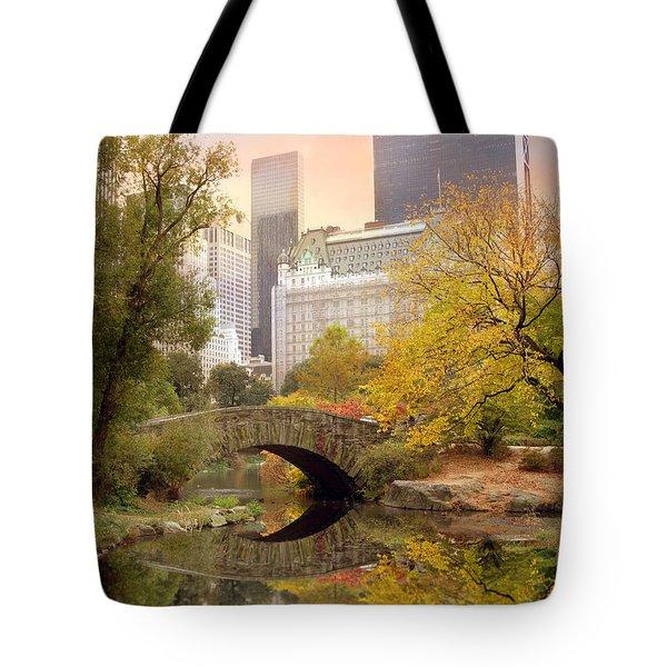 Gapstow Bridge Reflections Tote Bag