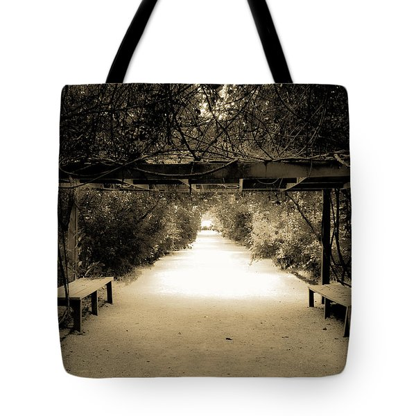 Garden Arbor In Sepia Tote Bag by DigiArt Diaries by Vicky B Fuller