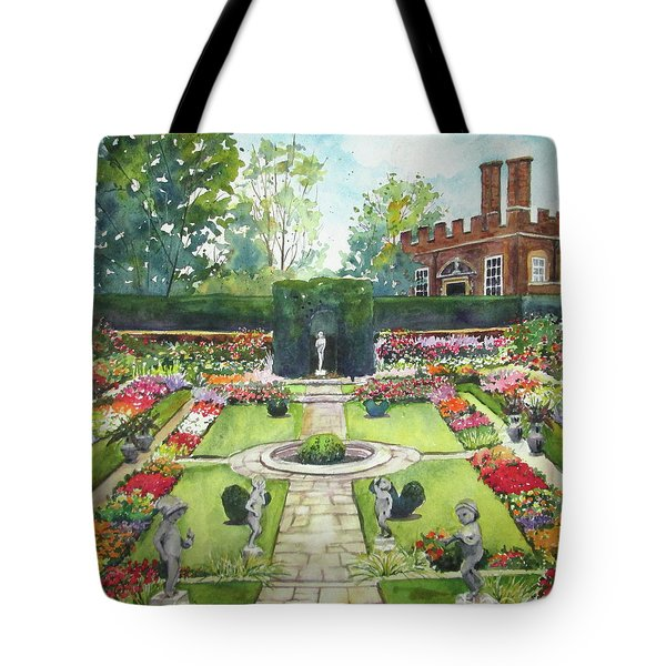 Tote Bag featuring the painting Garden At Hampton Court Palace by Susan Herbst