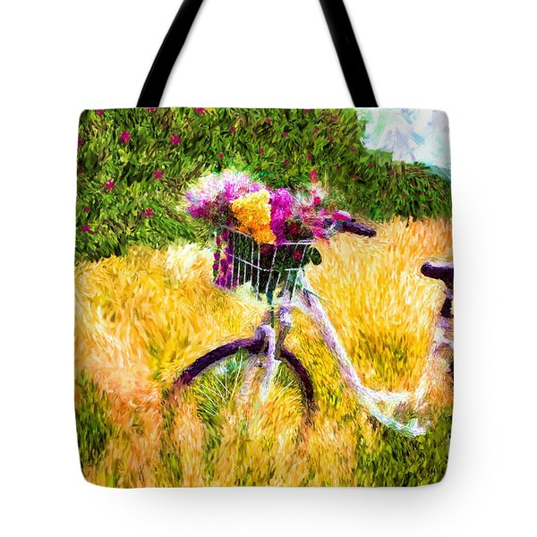 Garden Bicycle Print Tote Bag by Tina LeCour