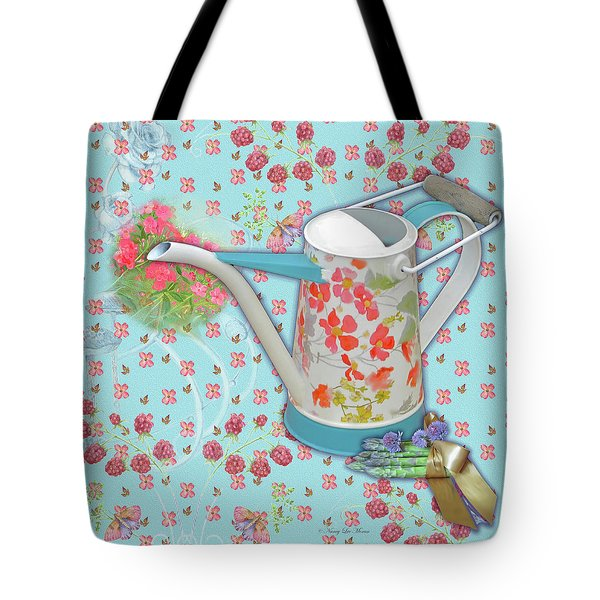 Tote Bag featuring the mixed media Garden Blessings by Nancy Lee Moran