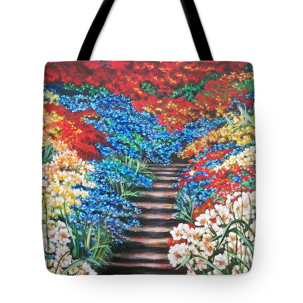 Tote Bag featuring the painting Garden Cascade by Sigrid Tune