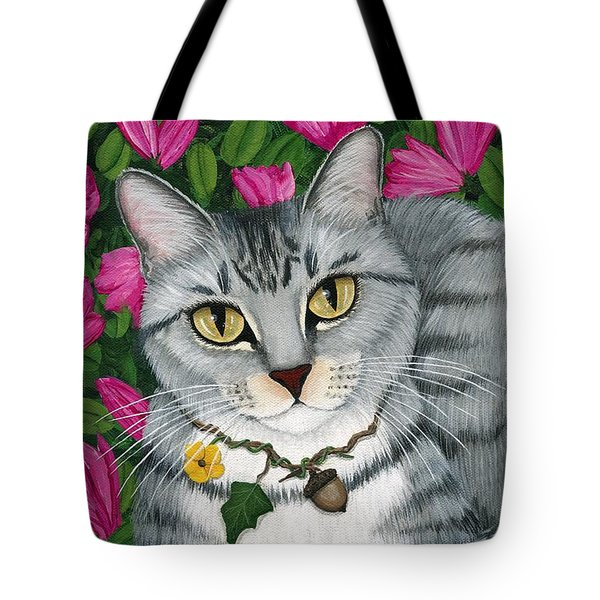 Garden Cat - Silver Tabby Cat Azaleas Tote Bag