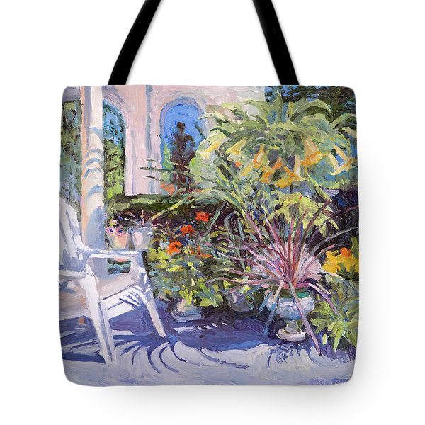 Garden Chair In The Patio Tote Bag