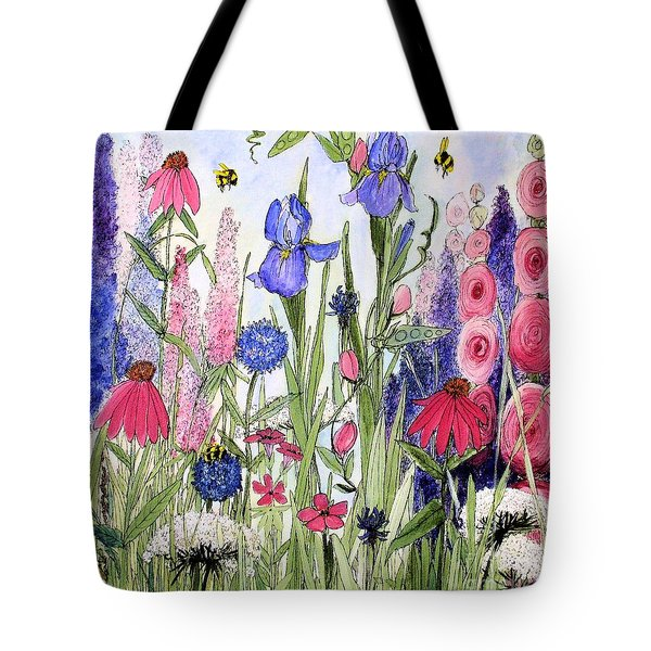 Garden Cottage Iris And Hollyhock Tote Bag