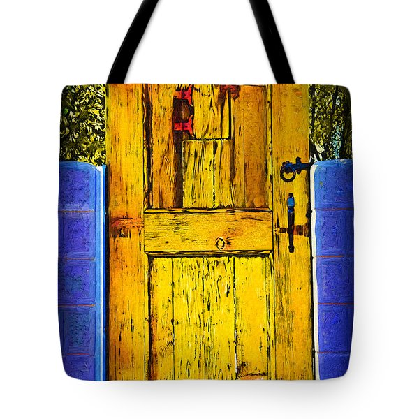 Tote Bag featuring the digital art Garden Door by Kirt Tisdale