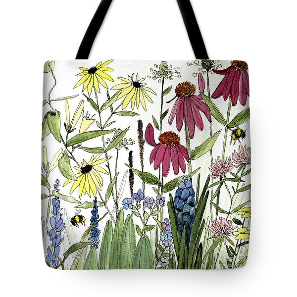 Garden Flowers With Bees Tote Bag