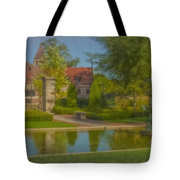 Garden Fountain At Ames Free Library Tote Bag
