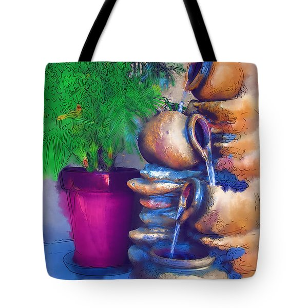 Tote Bag featuring the digital art Garden Fountain by Kirt Tisdale