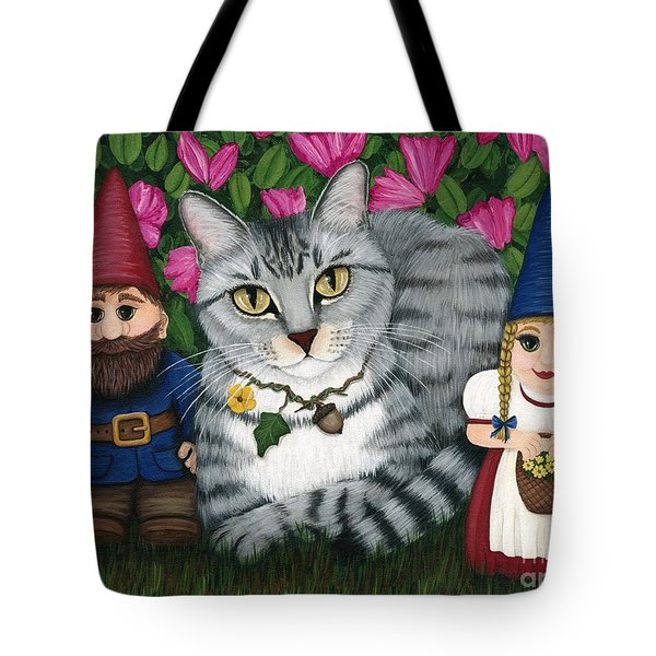 Garden Friends - Tabby Cat And Gnomes Tote Bag