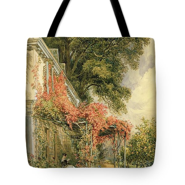 Garden Front Of Mr Robert Vernon's House At Twickenham Tote Bag by John James Chalon