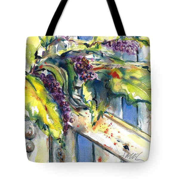 Garden Gate In Fall With Poke Berries  Tote Bag
