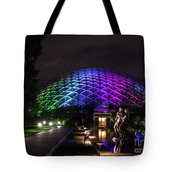 Tote Bag featuring the photograph Garden Globe At Night by Andrea Silies
