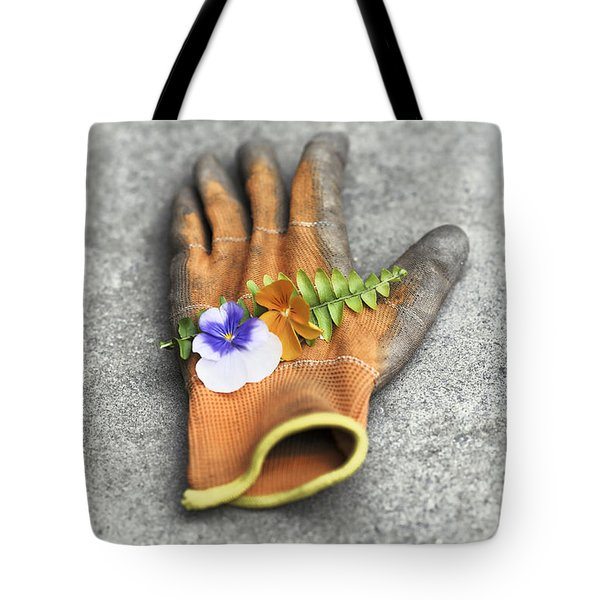Garden Glove And Pansy Blossoms1 Tote Bag