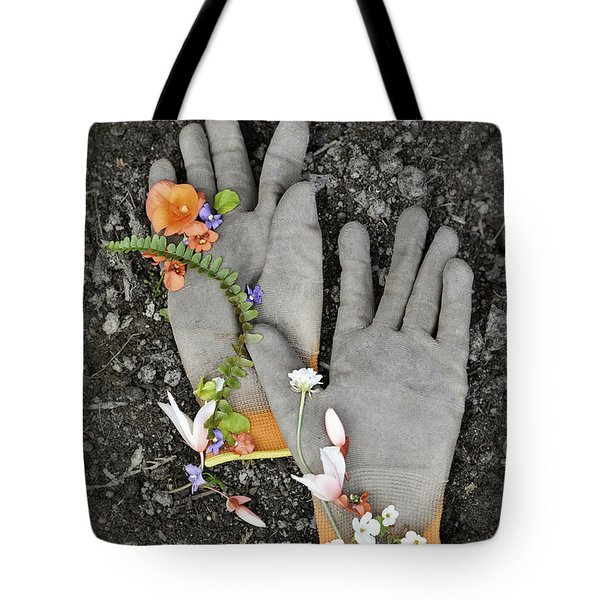 Garden Gloves And Flower Blossoms Tote Bag