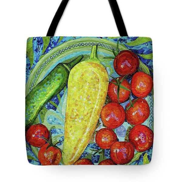Tote Bag featuring the mixed media Garden Harvest by Shawna Rowe