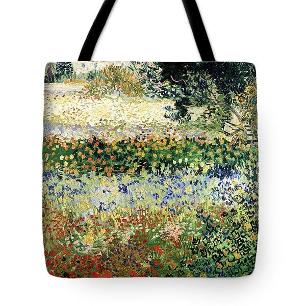 Tote Bag featuring the painting Garden In Bloom by Van Gogh