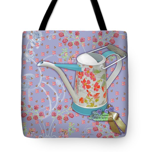 Tote Bag featuring the mixed media Garden Joys In Lovely Lavender by Nancy Lee Moran