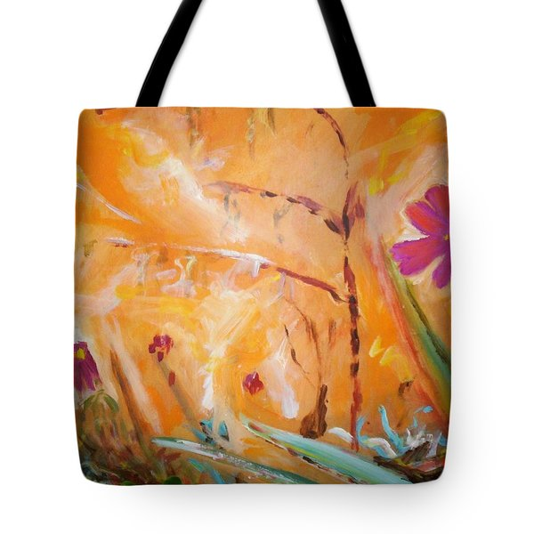 Tote Bag featuring the painting Garden Moment by Winsome Gunning