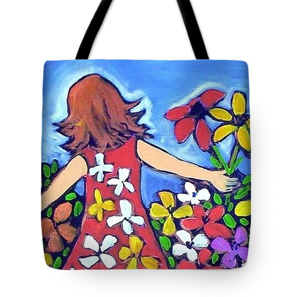 Tote Bag featuring the painting Garden Of Joy by Winsome Gunning