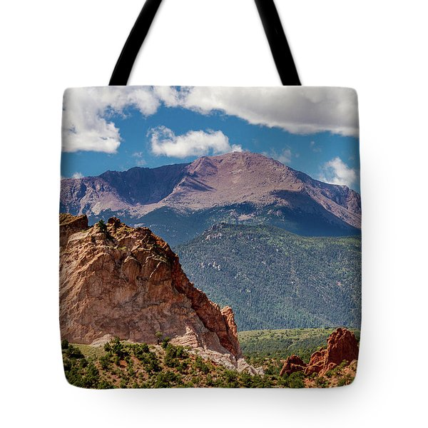 Tote Bag featuring the photograph Garden Of The Gods And Pikes Peak by Bill Gallagher
