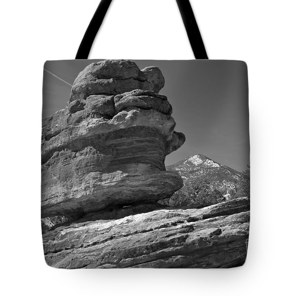 Tote Bag featuring the photograph Garden Of The Gods Balanced Rock Black And White by Adam Jewell