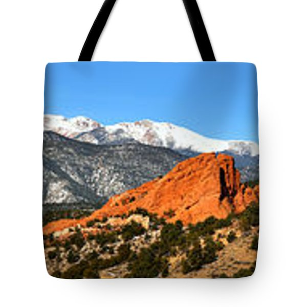 Tote Bag featuring the photograph Garden Of The Gods Extended Panorama by Adam Jewell