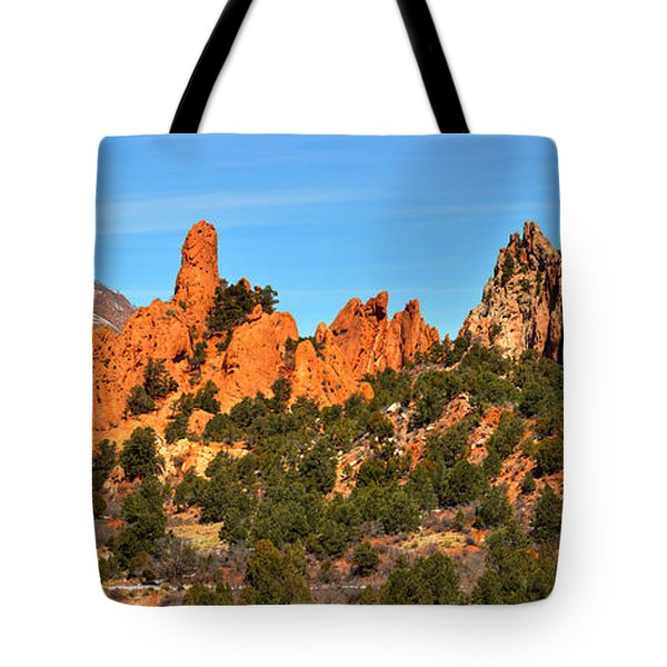 Tote Bag featuring the photograph Garden Of The Gods High Point Panorama by Adam Jewell