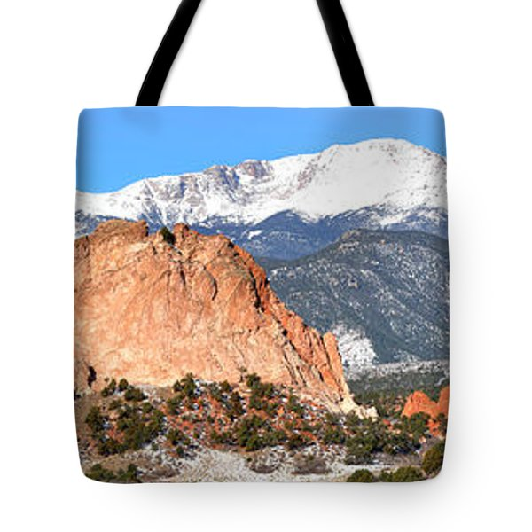Tote Bag featuring the photograph Garden Of The Gods Panorama by Adam Jewell