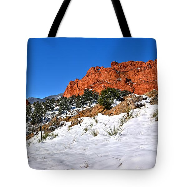 Tote Bag featuring the photograph Garden Of The Gods Red And White by Adam Jewell