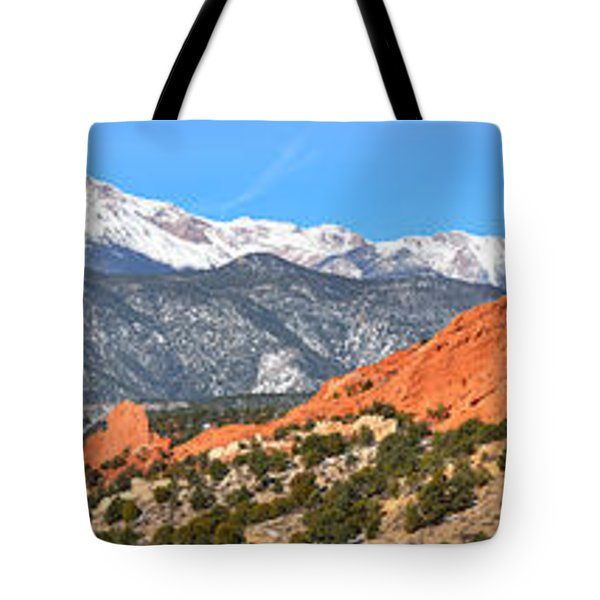 Tote Bag featuring the photograph Garden Of The Gods Red Rock Panorama by Adam Jewell
