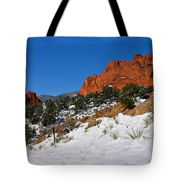 Tote Bag featuring the photograph Garden Of The Gods Snowy Blue Sky Panorama by Adam Jewell