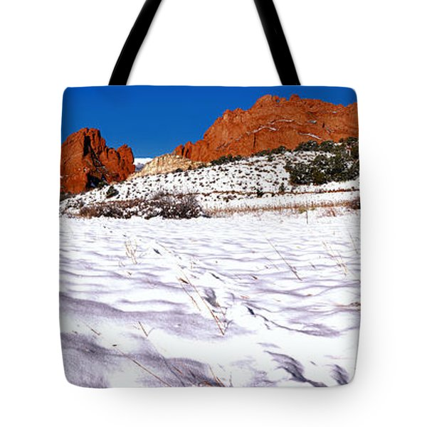 Tote Bag featuring the photograph Garden Of The Gods Snowy Morning Panorama by Adam Jewell