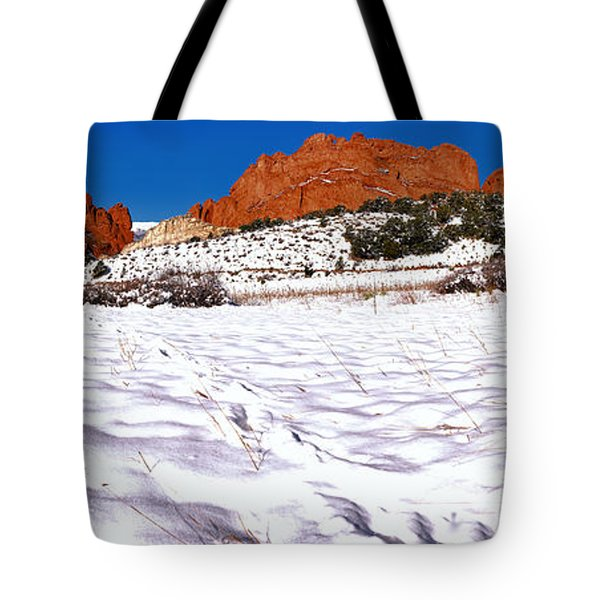 Tote Bag featuring the photograph Garden Of The Gods Snowy Morning Panorama Crop by Adam Jewell