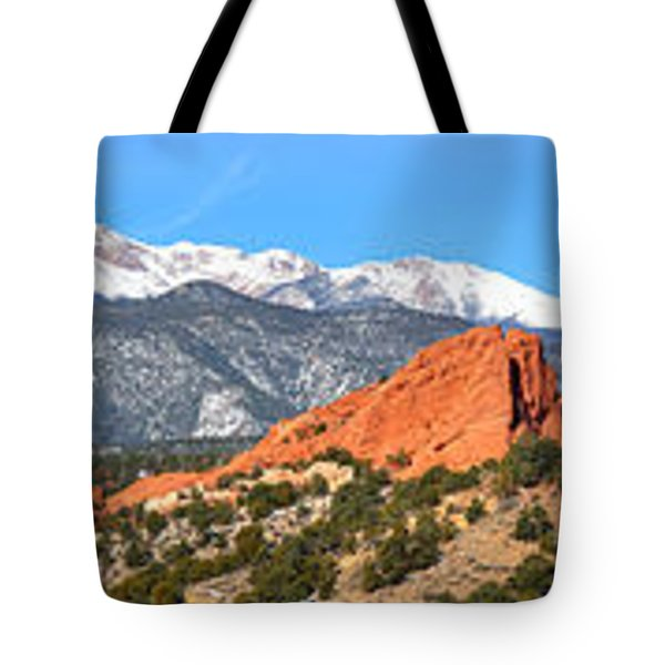 Tote Bag featuring the photograph Garden Of The Gods Spring Panorama by Adam Jewell