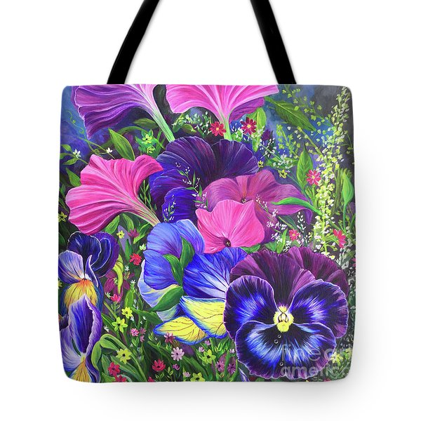 Tote Bag featuring the painting Garden Party by Nancy Cupp