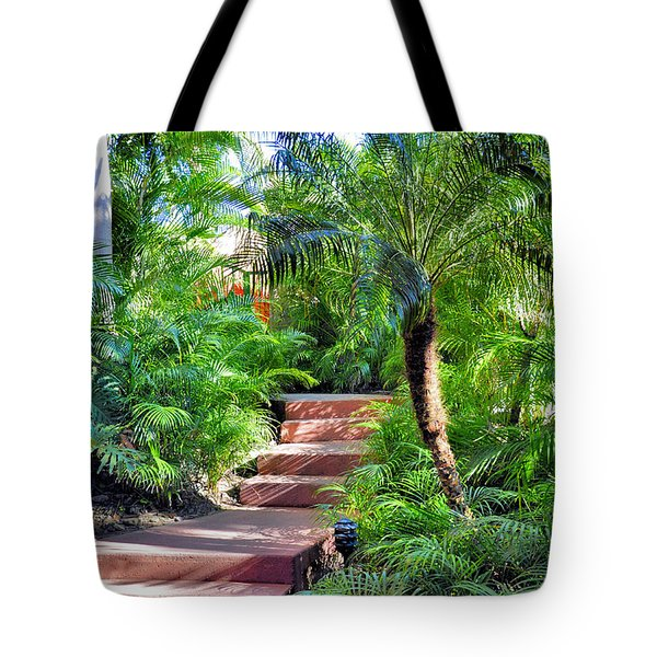 Tote Bag featuring the photograph Garden Path by Jim Walls PhotoArtist