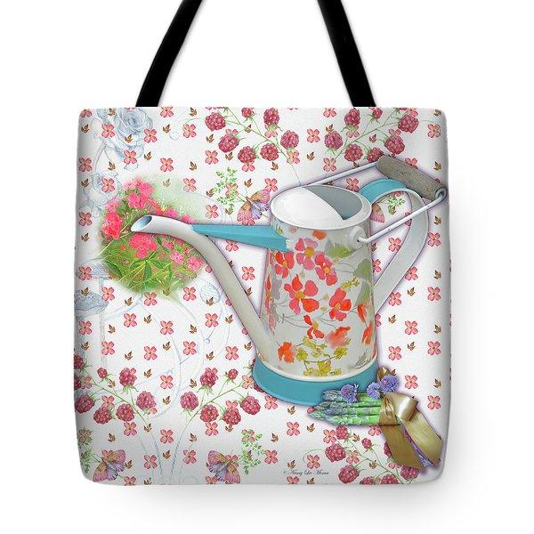 Tote Bag featuring the mixed media Garden Pleasures by Nancy Lee Moran