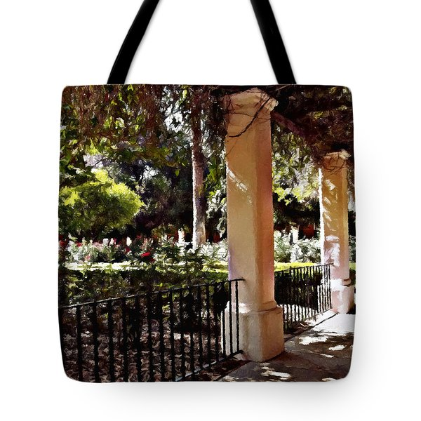 Tote Bag featuring the photograph Garden Promenade - San Fernando Mission by Glenn McCarthy Art and Photography