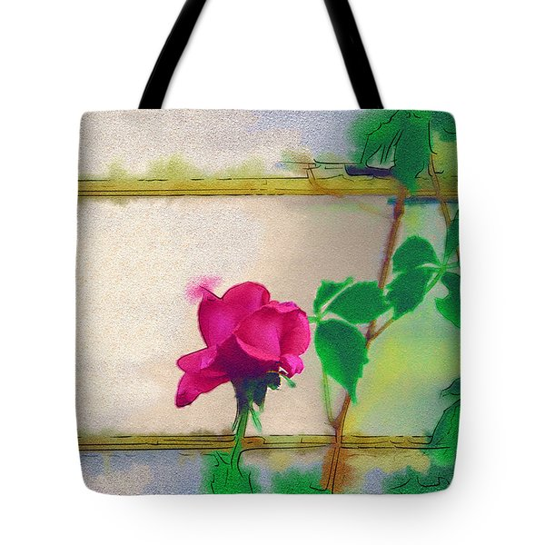 Tote Bag featuring the digital art Garden Rose by Holly Ethan