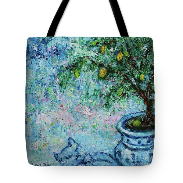Tote Bag featuring the painting Garden Sleeping Cat by Xueling Zou
