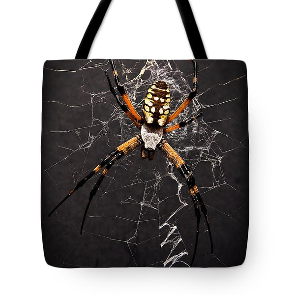 Tote Bag featuring the photograph Garden Spider And Web by Tamyra Ayles