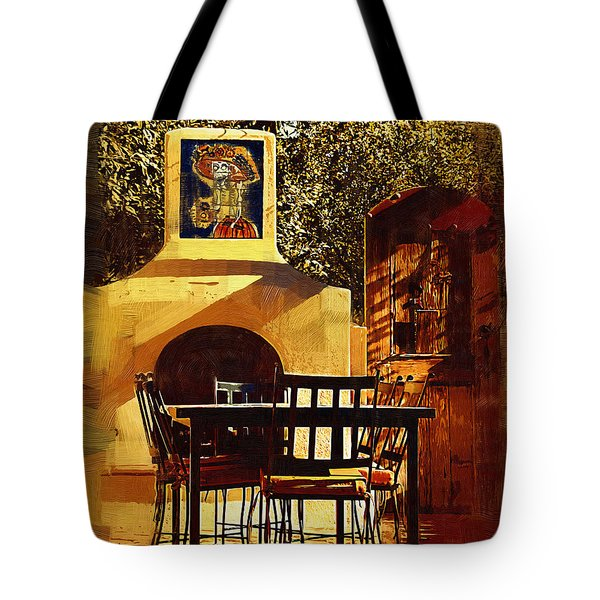 Tote Bag featuring the digital art Garden Table by Kirt Tisdale