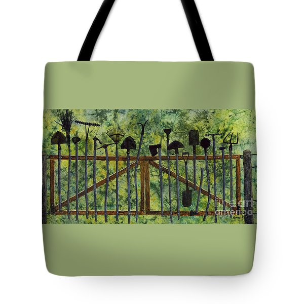 Tote Bag featuring the painting Garden Tools by Hailey E Herrera